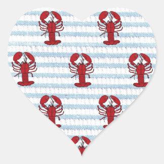 lobster seersucker heart sticker