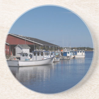 Lobster Shack Series---Fishing Boats and Harbor Sandstone Coaster