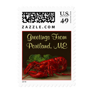 Lobster Stamps Greetings from Your Town, City ST