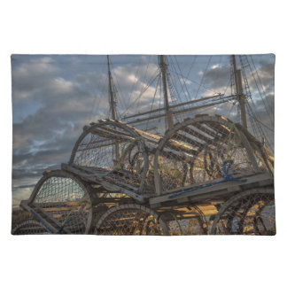 Lobster Traps and Tall Ship Masts Cloth Placemat