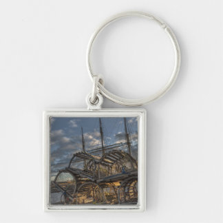 Lobster Traps and Tall Ship Masts Keychain