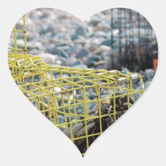 Lobster Traps on Rocky Beach Heart Sticker