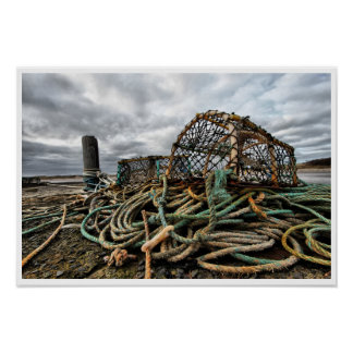 Lobster Traps, Ropes on Beach Poster
