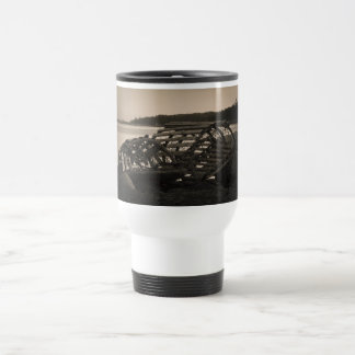 Lobster Traps Sepia Travel Mug
