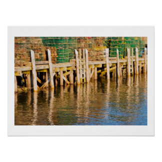 Lobster Traps stacked On Pier On Coast Of Maine Poster