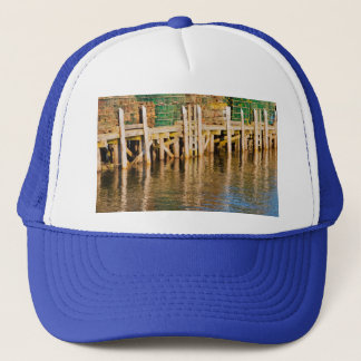 Lobster Traps stacked On Pier On Coast Of Maine Trucker Hat