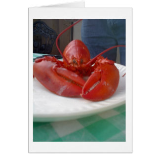 LOBSTER WALKS INTO A RESTURANT CARD