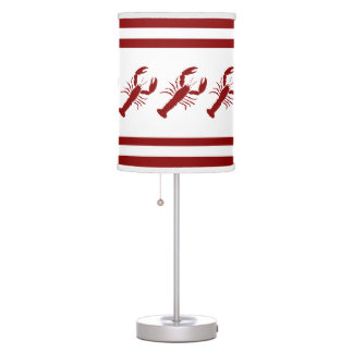 LOBSTER  White on Red Table Lamp