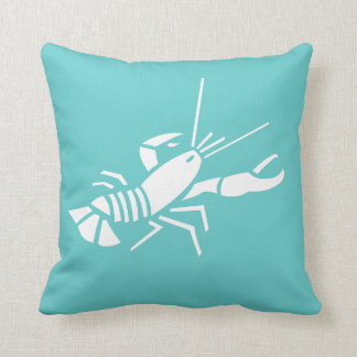 LOBSTER WHITE on teal blue pillow
