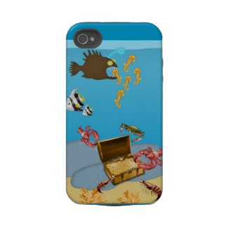 Lobsters opening Treasure Chest iPhone 4 Case