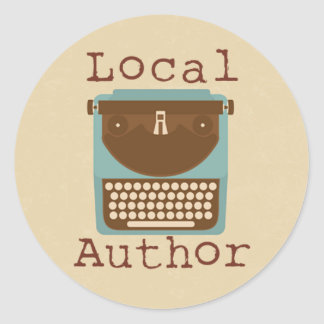 Local Author Typewriter Round Sticker