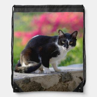 Local cat at The Gunner's Tavern Drawstring Backpack