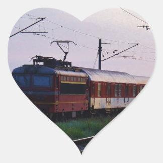Local Train In Bulgaria Heart Sticker