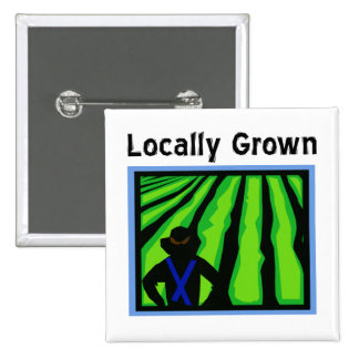 Locally Grown 2 Inch Square Button