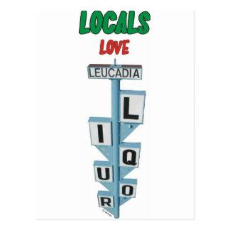 LOCALS LOVE LEUCADIA LIQUOR POSTCARD