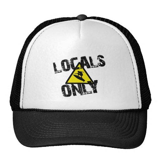 Locals only to surf danger sign surfing trucker hat