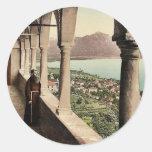 Locarno, Madonna del Sasso, logia, Tessin, Switze Etiquetas Redondas