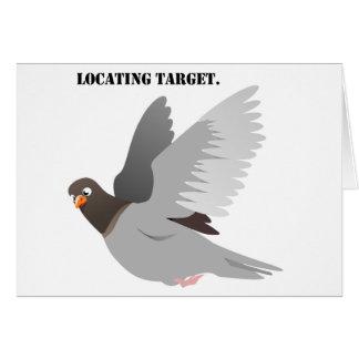 Locating Target Gray Pigeon Cartoon Card