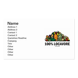 Locavore 100% (pila de verduras) tarjetas de visita