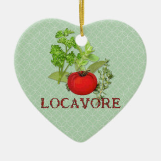 Locavore Double-Sided Heart Ceramic Christmas Ornament