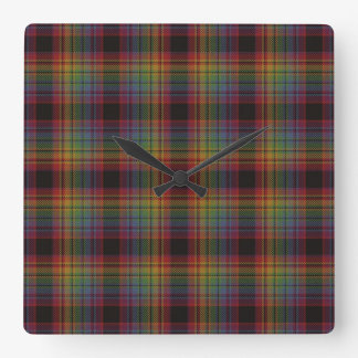 Loch Ard Tartan Plaid Square Wall Clock