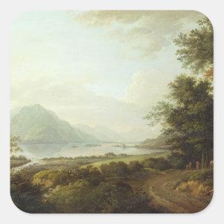 Loch Awe, Argyllshire, c.1780-1800 (oil on canvas) Square Sticker
