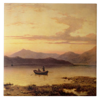 Loch Etive, from Bonawe - Evening, 1875 (oil on ca Tile