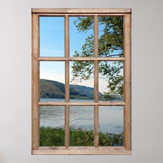 Loch in Scotland from a Window Poster