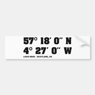 Loch Ness - Co-ordinates design Bumper Sticker