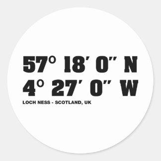 Loch Ness - Co-ordinates design Classic Round Sticker