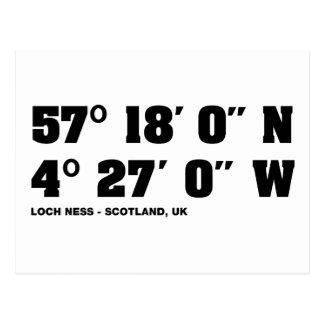 Loch Ness - Co-ordinates design Postcard