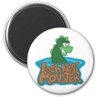 Loch Ness Monster Cartoon 2 Inch Round Magnet
