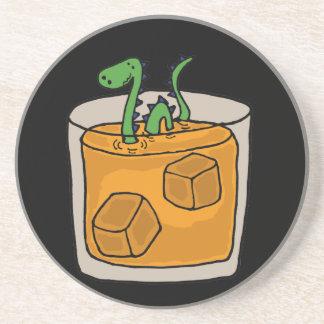 Loch Ness Monster in Scotch Whiskey Glass Drink Coaster