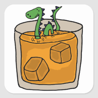 Loch Ness Monster in Scotch Whiskey Glass Square Sticker