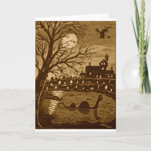 Loch Ness Monster On Halloween Card