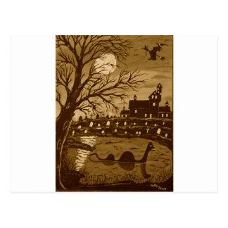 Loch Ness Monster On Halloween Postcard