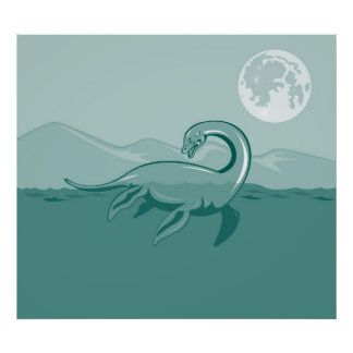 Loch Ness Monster Retro Poster