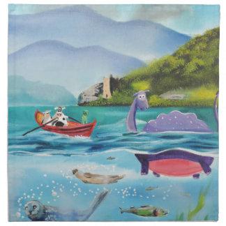 Loch Ness monster underwater painting G BRUCE Cloth Napkin