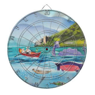 Loch Ness monster underwater painting G BRUCE Dartboard With Darts