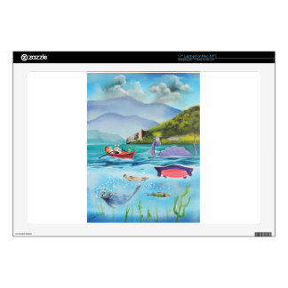 Loch Ness monster underwater painting G BRUCE Laptop Decal