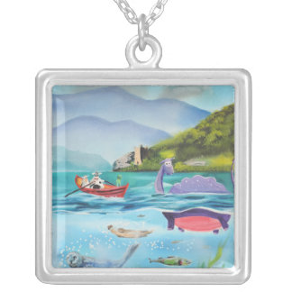 Loch Ness monster underwater painting G BRUCE Square Pendant Necklace
