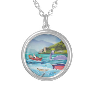 Loch Ness monster underwater painting G BRUCE Round Pendant Necklace