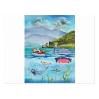 Loch Ness monster underwater painting G BRUCE Postcard