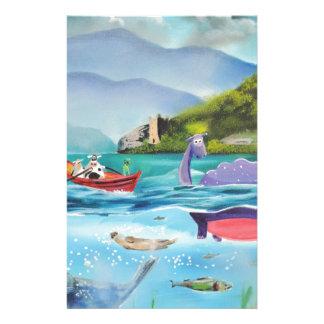 Loch Ness monster underwater painting G BRUCE Stationery
