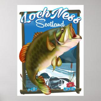 Loch Ness Scotland Fishing travel poster