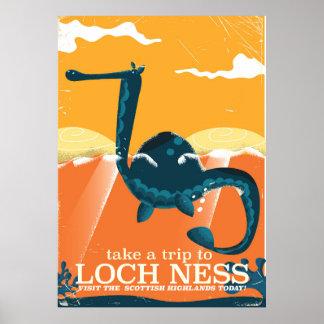 Loch Ness Scotland highlands vintage monster Poster