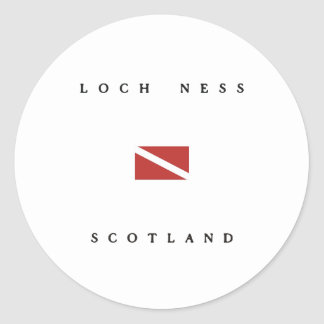 Loch Ness Scotland Scuba Dive Flag Classic Round Sticker