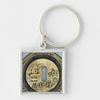 Lock depicting the Siege of the Bastille Silver-Colored Square Keychain