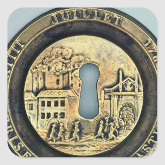 Lock depicting the Siege of the Bastille Square Sticker