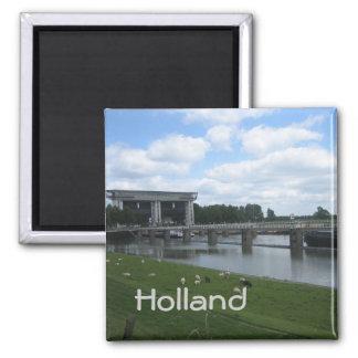 Lock in Dutch canal 2 Inch Square Magnet